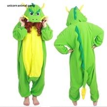 New Winter Warm green Animal Adult Unisex Chinese Dragon Onesies Pajama Sete Pyjama Cosplsy Costumes Hooded Pajamas party animal
