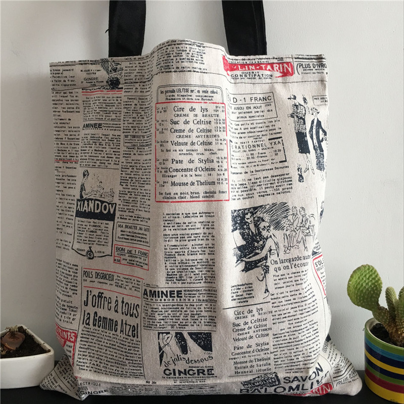 YILE Cotton Linen Eco Market Shopping Tote Shoulder Bag Print Illustration Newspaper 8417d