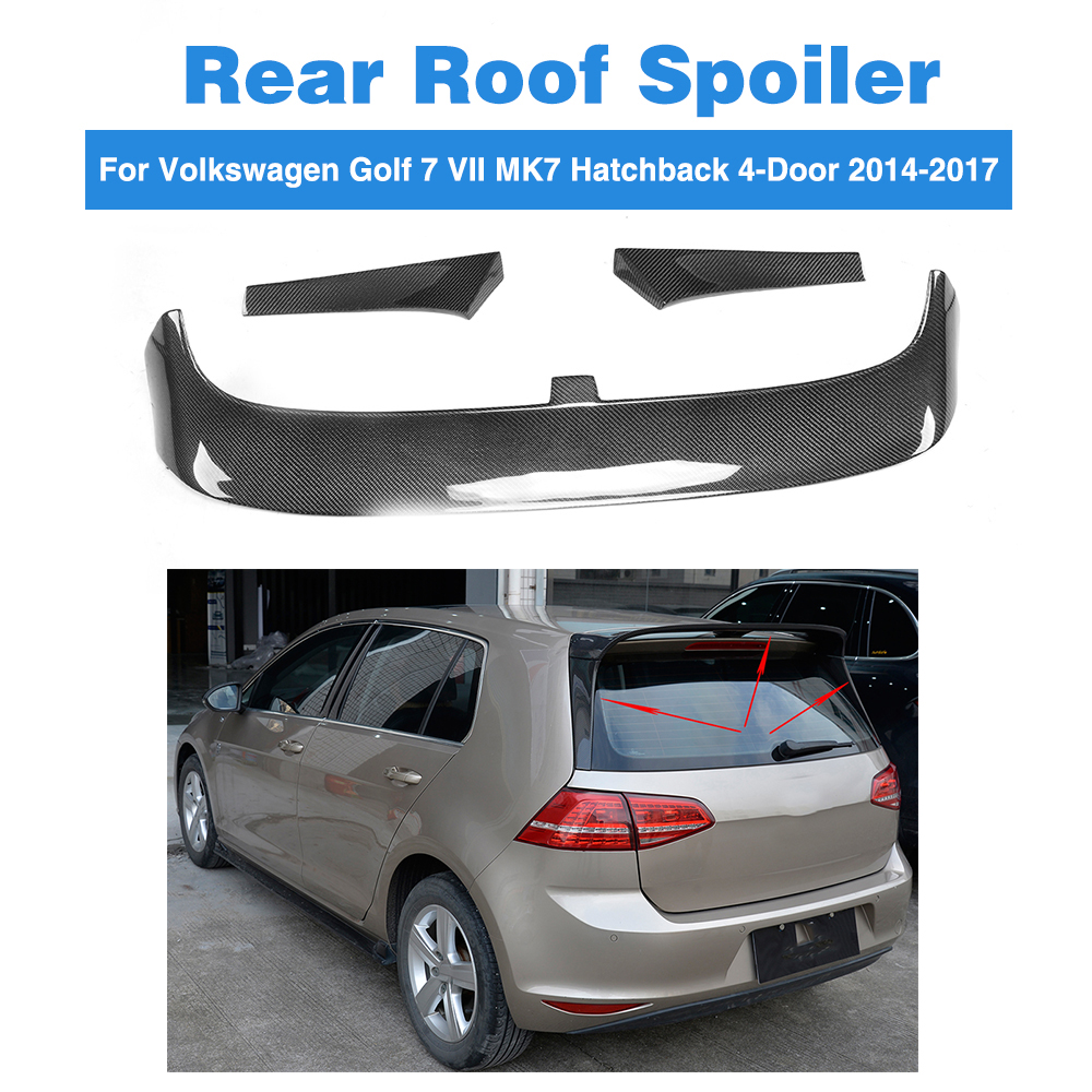3PCS/Set Carbon Fiber Rear Roof Spoiler Wing for Volkswagen VW Golf 7 VII MK7 Hatchback 4-Door Standard 2014-2017 Window Wing real carbon fiber mirror cover case for vw golf 7 mk7 gti tsi vii jdm 2013 2015 [1031001]