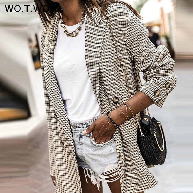 WOTWOY Double Breasted Plaid Blazer Women Khaki Pocket Long Sleeve Office Ladies Blazer Autumn Jacket Female Outerwear Coats-in Blazers from Women's Clothing