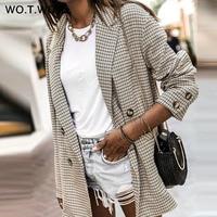 WOTWOY Double Breasted Plaid Blazer Women Khaki Pocket Long Sleeve Office Ladies Blazer Autumn Jacket Female Outerwear Coats