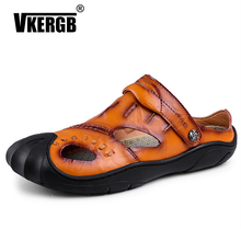 VKERGB Comfortable Men Sandals Summer Casual Shoes Mens Genuine Leather Flat Outdoor Beach