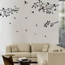 Fashion Black Tree Branches Birds Leaves Home Wall Stickers Living Room Decals Home Room Decoration Wall Craft(China)