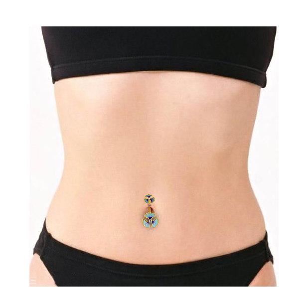 Body Punk Cute Lovely Style Gold Color With Blue Enamel Rhinestone