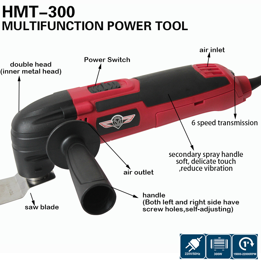 300W Multi Power Electric trimmerSaw Power Tool+66pcs Renovator Multimaster Oscillating Tools