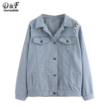 Dotfashion Autumn New Style Women's Coat New Style Buttoned Front Ripped Light Blue Lapel Long Sleeve Denim Jacket