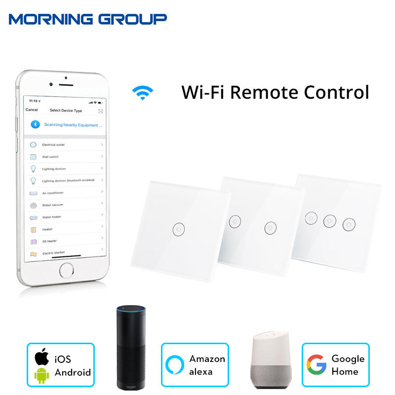 Wifi Smart Wall Touch Switch Glass Panel Mobile APP Remote Control No Hub Required work with Amazon Alexa Google Home US EU UK ewelink us type 2 gang wall light smart switch touch control panel wifi remote control via smart phone work with alexa ewelink