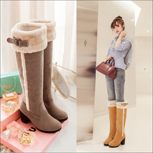 2015 Warm Winter Shoes Women Fashion Round Toe Chunky Heel Knee High Boots Woman Comfortable Snow Boots Plus Size