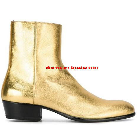 2017 Men Genuine leather Luxury Boots Fashion Pointed Toe Gold Ankle Boots  Men Cool shoes Trend Martin boots Size 38-45 39c2f351c