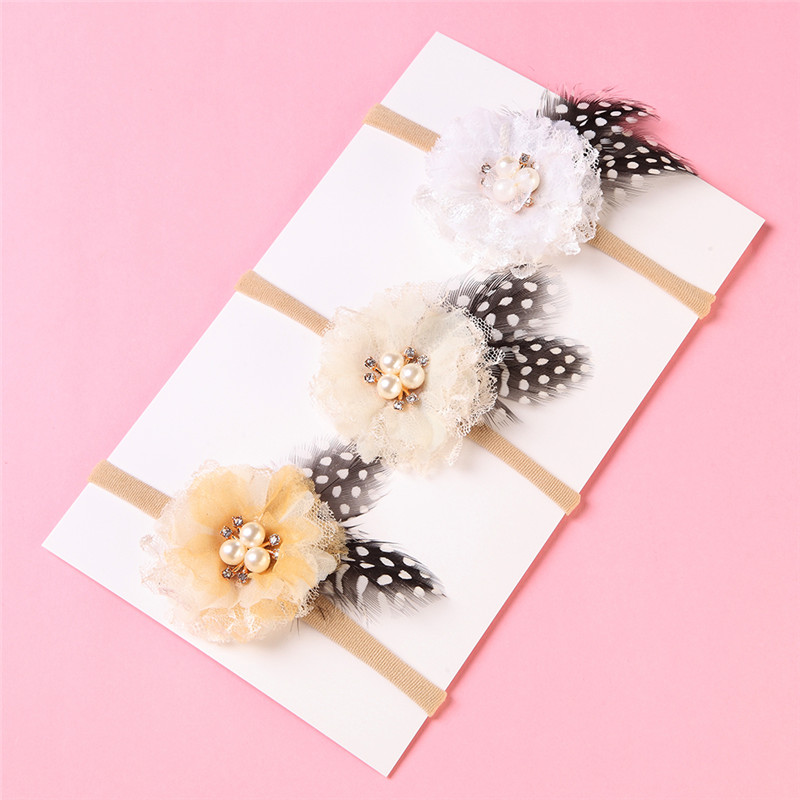1PCS Girls Flower Nylon Headband With Feather Ears Pearl Hairband For Party Cute Soft Elastic Kids Hair Accessories in Hair Accessories from Mother Kids