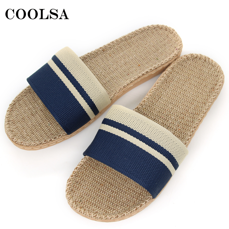 COOLSA New Men Linen Slippers Stripe Hemp Flip Flops Flat Non-slip Sandals Home Slippers Male Casual Indoor Flax Hot Beach Shoes