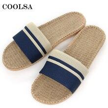 41425160574e COOLSA New Men Linen Slippers Stripe Hemp Flip Flops Flat Non-slip Sandals  Home Slippers