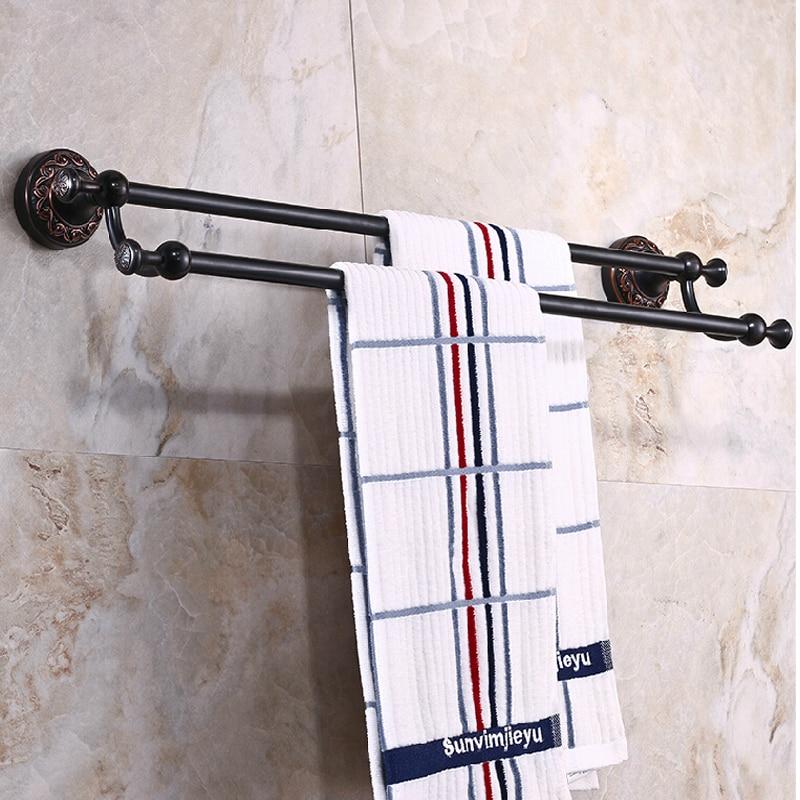 Wholesale And Retail Luxury Oil Rubbed Bronze Towel Rack Holder Dual Towel Bars Flower Carved Towel Rack Holder W/ Hook Hangers