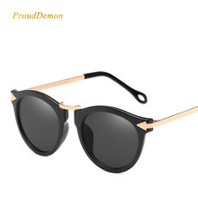 86a937839 Women Metal Arrow Sunglasses Female Brand Designer Flat Lens Sun Glasses  Retro Round Elegant Oculos De Sol Classic Fashion Gafas
