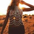 Bohemia de moda hecha a mano moldeada ancha arnés collar mujeres sexy body cadena de la perla de faux collar llamativo joyería