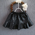 2016 brand girls skirt fake leather girls tutu skirt black kids girls clothes children costume newness