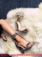 Women's Sandals Autumn Fashion Shiny Buckle High Heels Black Purple Silver Crystal Square High Heel Sandals