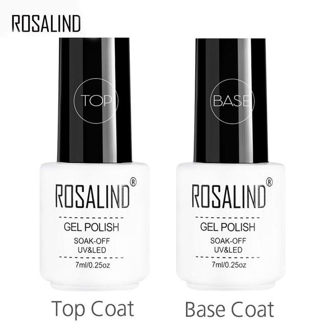 ROSALIND 7ml Base Coat & Top Coat Set Gel Nail Polish Soak Off Long Lasting UV LED Nail Gel Lacquer Foundation
