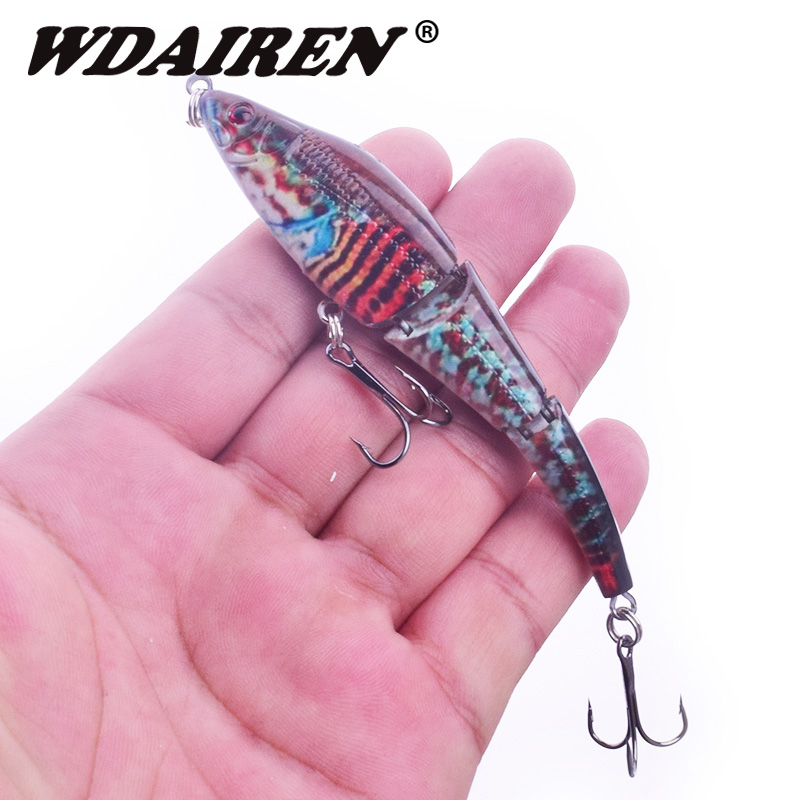 1Pcs Multi-Jointed Fishing Lure 9.5cm 8g 3 knots Lifelike Swimbait Crankbait Hard Fish Bait Pesca fishing Tackle lures WD-419