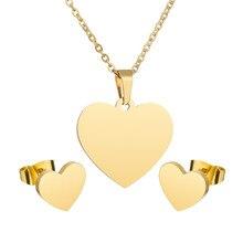 aef7af5452c6 Simple diseño Simple de oro del encanto del corazón de la Plata pendientes  y colgantes para las mujeres de acero inoxidable amor.
