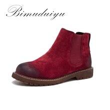 BIMUDUIYU Women Martin Boots Suede Autumn Winter Ankle Boots High Quality Flat Femmes Shoes Women Pattern Retro Short Boots