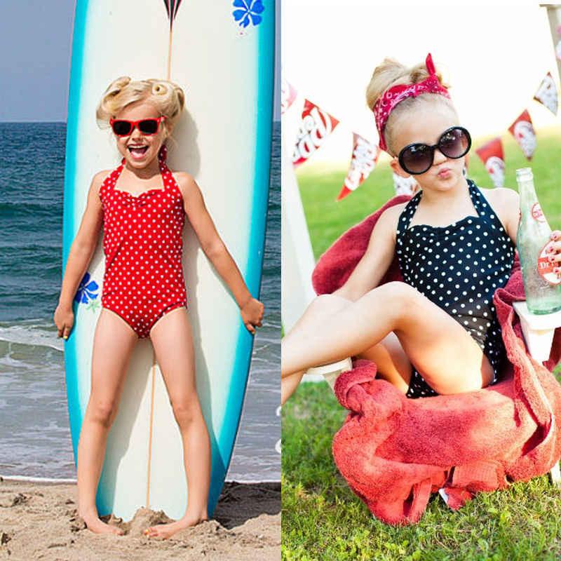 dd7b9566b52a ... 2018 New Baby   Toddler Girls Swimwear Bowknot Polka Dots Bikini Kids  Swimsuit 2-7 ...