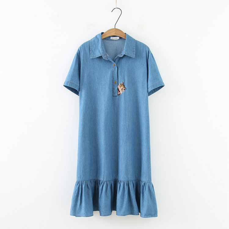 Plus size blue denim cat Embroidered women dress 2019 Casual summer turn down collar Short sleeve ladies vestido female