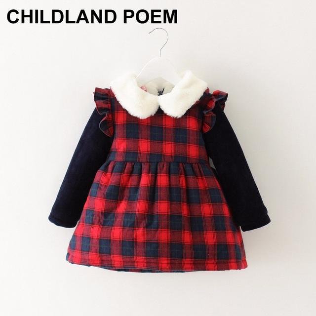 Primavera de invierno recién nacido bebé de 1 año de cumpleaños dress rojo espesar navidad a cuadros cuello de piel sintética niño bebé dress para niñas