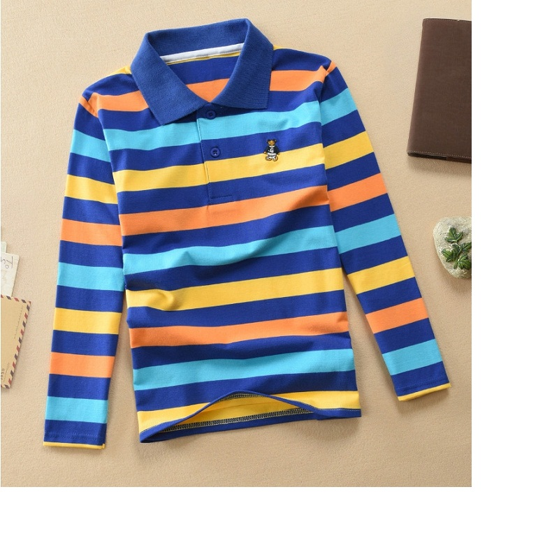 High quality 1 year old -2 years old boy polo shirt short sleeve shirt lapel striped cotton t-shirt variety of colors optional