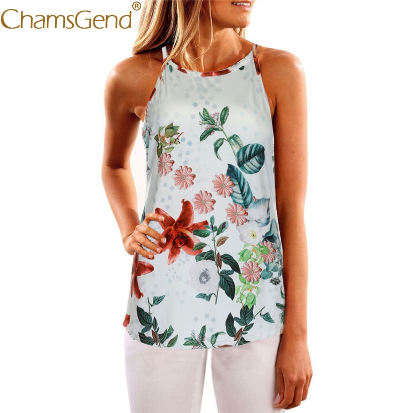 Chamsgend Tops Women Tees Summer Fashion Art Plant Floral Print Sleeveless Round Neck Camis Female Tank Top 80108