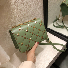 Summer Womens Bag With Rivets Shoulder Green For Women Red Crossbody Messenger Mini Bags Diamond Lattice Clutch Female 2019