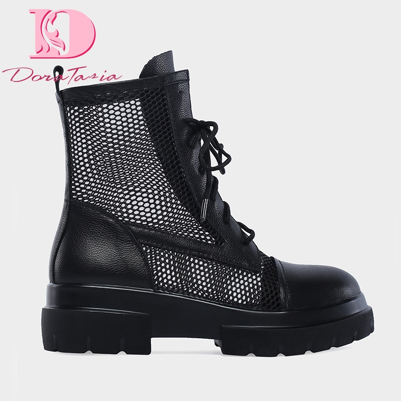DoraTasia 2019 Brand chunky heels genuine leather air mesh summer boots women shoes fashion Ins ankle