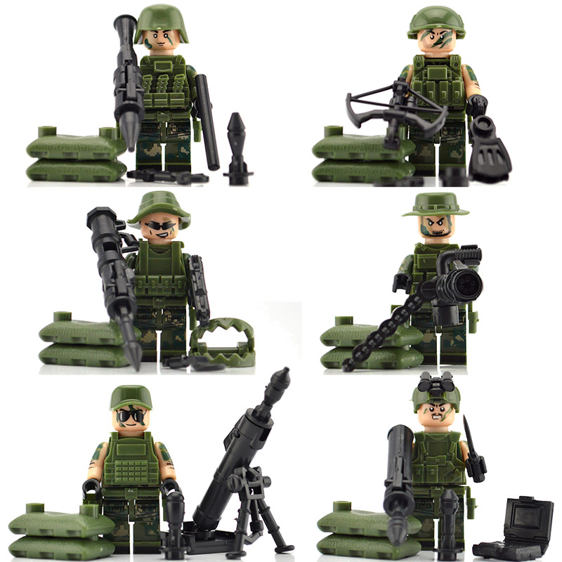 Military Artillery Soldiers Modern Special Forces Field Troops with Mortar RPG Building Blocks Bricks Toys for Children 8 in 1 military ship building blocks toys for boys