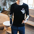 China Style T-Shirt Men 2017 Spring Gold Velvet Tee Shirt Homme Embroidery Long Sleeve Slim Fit Men's T Shirts Brand Clothing