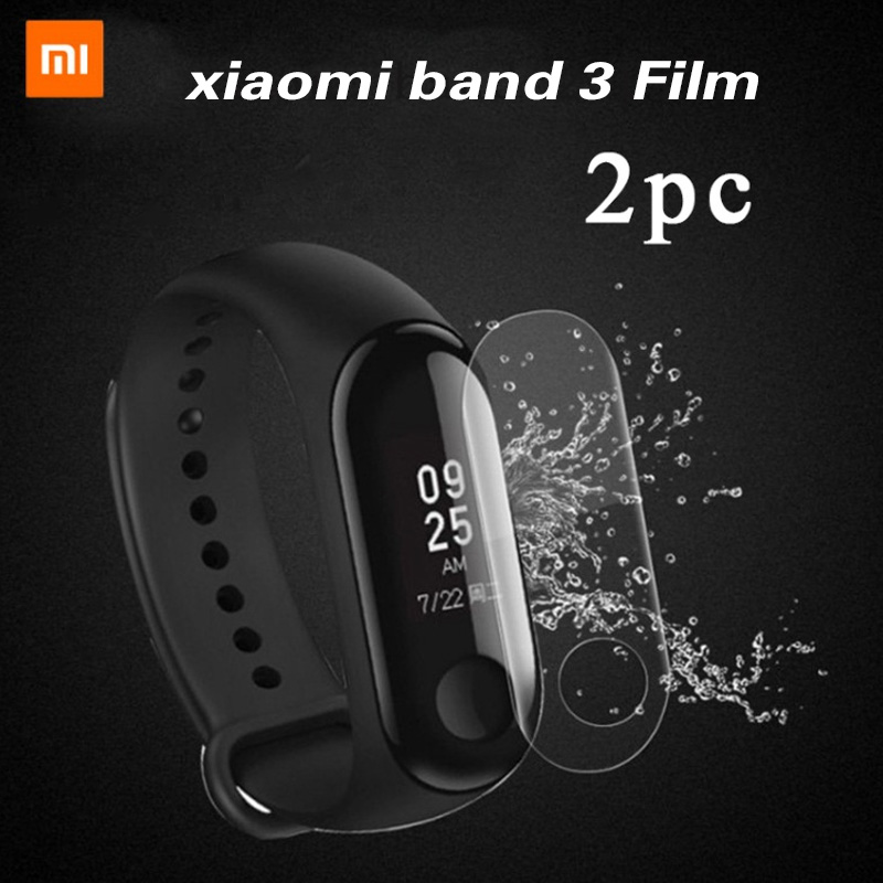 xiaomi band 3 2pcs For Xiaomi Mi Band 3 Screen Protector Miband3 HD Ultra Thin Anti-scratch Film Soft film Not Tempered Glass magnetic attraction bluetooth earphone headset waterproof sports 4.2
