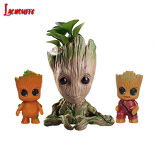 Flower Pot Baby Groot Flowerpot Cute Toy Pen Pot Holder PVC Marvel Hero Model Baby Tree Man Garden Plant Pot Groot Dropshipping marvel galaxy guard 2 groot small tree baby bluetooth audio s box model hand office w07