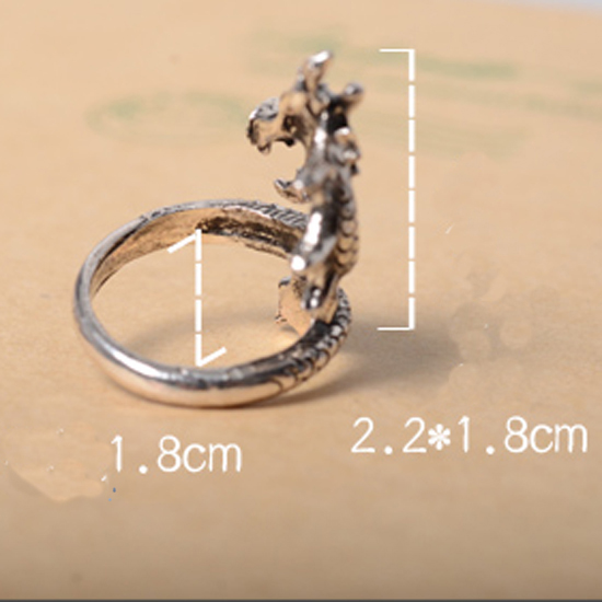 Hot LNRRABC Sale New Arrival Charms Punk Fashion Exaggerated Rings for Men and Women Vintage Retro Dragon Ring Jewelry Gift