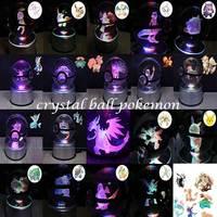 IHOMELF Brand Crystal Ball Pokemon sela design go Laser 9 Eevee Engraved LED rotating base Children like the 3D night light
