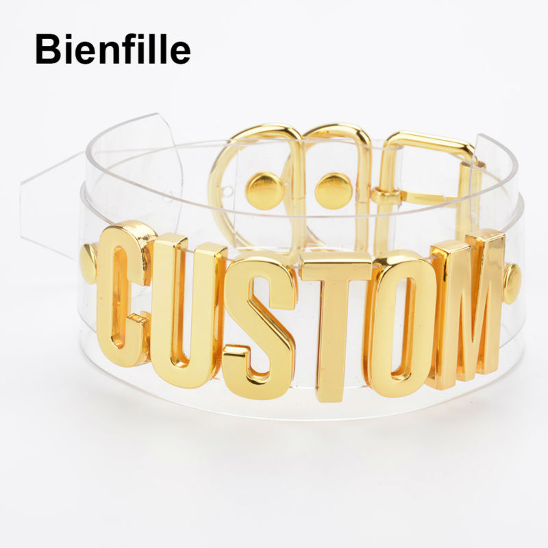 Customized Unique Letter Necklace Women Handmade Romantic Two Layer Wide Clear PVC Vinyl Transparent Choker Sexy Collar Necklace