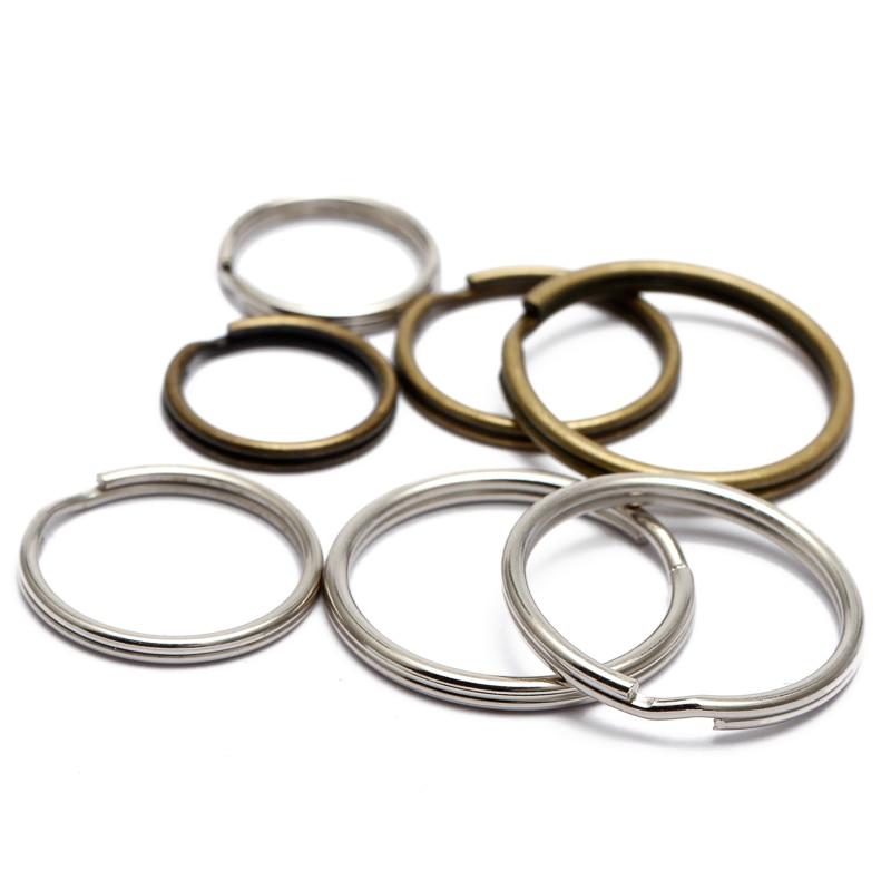 2 x 32mm FLAT Silver Tone Manganese Steel Keychain Split Ring Keyring Large Size