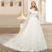 Vnaix WV613 V Neck Nature Height A Line Long White Lace Sleeeve Wedding Dresses 2015 Bridal Gown