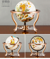 High grade business ART # 2019 home office School best Decoration handmade 3D Crystal Gemstone Globe tellurion statue M size