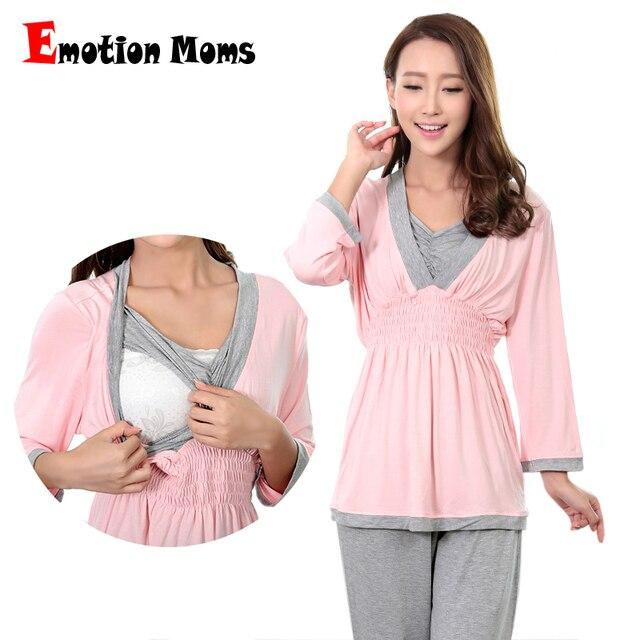 Эмоции мамы Одежда для беременных ночная рубашка для беременных кормящих  беременности пижамы для беременных женщин Пижама fc00db3adc3