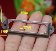 30Pcs Red Antique Iron Label Frame Card Holder without Cup Pull Handle Size small 60*17mm.