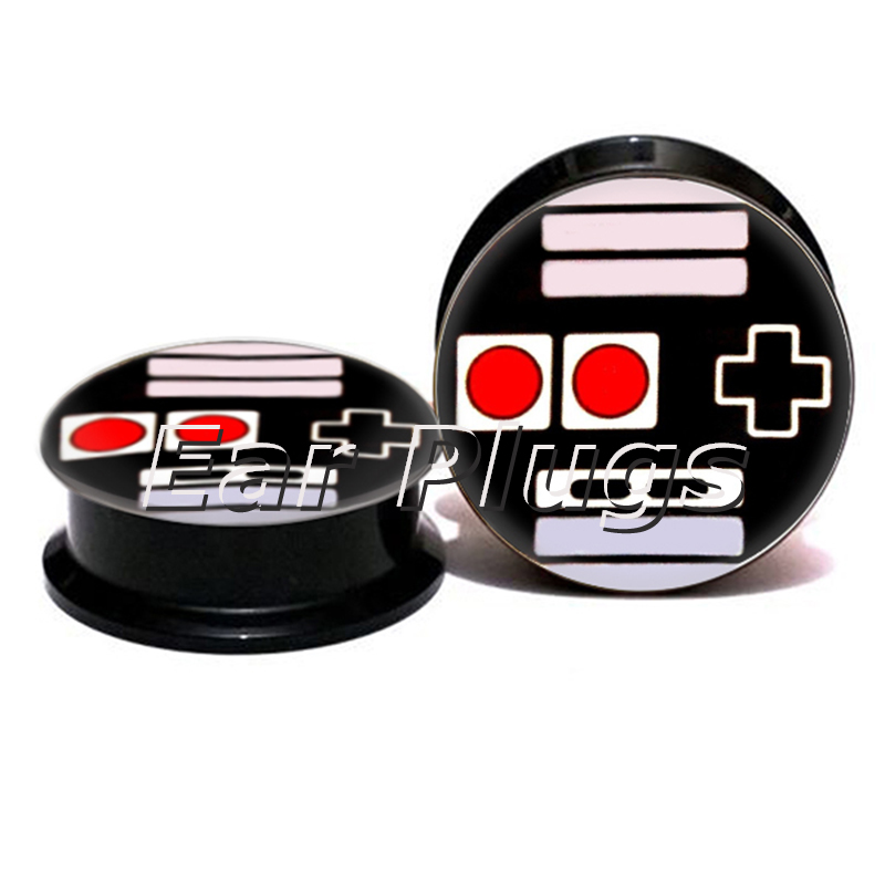 Wholesale game player plug gauges acrylic screw ear plug flesh tunnel piercing body jewelry ASP0760