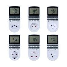 Elettronico Timer Digitale Interruttore 24 Ore Ciclico EU UK AU STATI UNITI FR BR Spina Timer Da Cucina di Uscita Programmabile Timing Presa 220V
