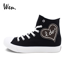 Wen Wedding Shoes Original Design LOVE Proposal Words Marriage High Top Men Women Sports Sneakers Classic Black White(China)