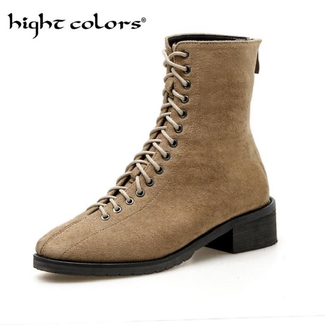 000bb6ad2946 Flock Leather Fashion Martin Boots Women Low Heels Zipper Lace Up Female  British Wind Ankle Boots Autumn Winter New Black Beige
