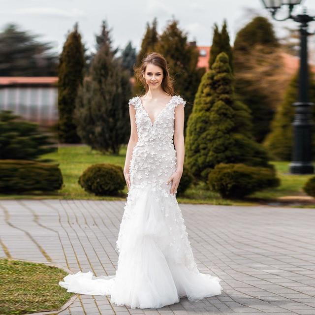 Fl Lique Wedding Dresses Y Deep V Neck Cap Sleeves Backless Summer Garden