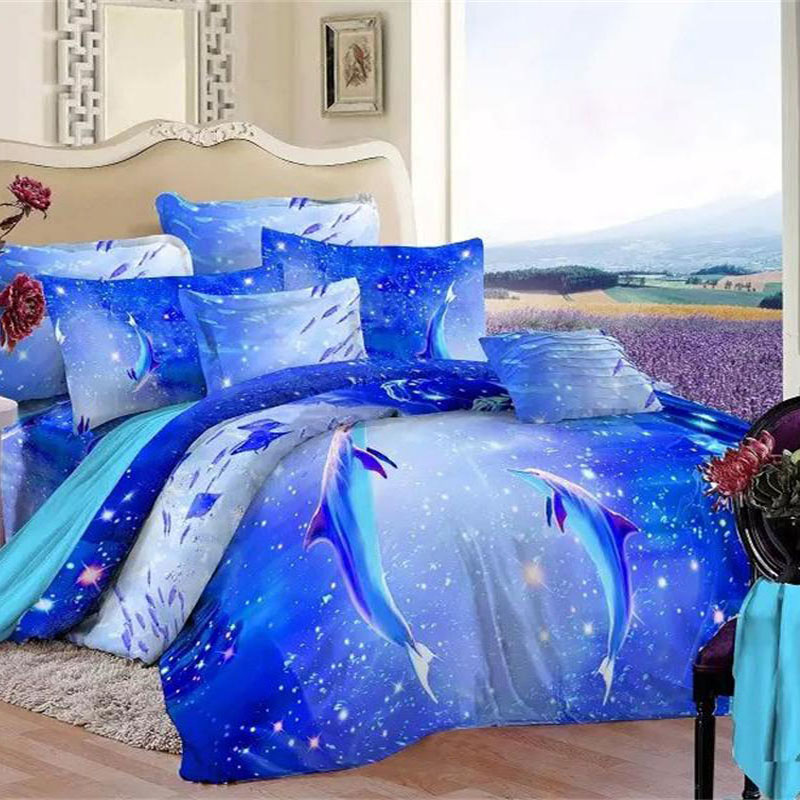 Blue Ocean 3d Dolphin Bedding Set Queen King Cotton Printed Bed Sheets Duvet Cover Pillowcase Beautiful Home Textiles Set